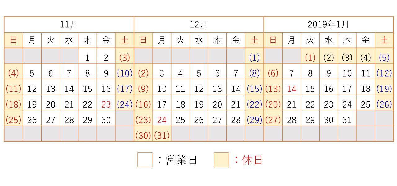 201811-201901カレンダー