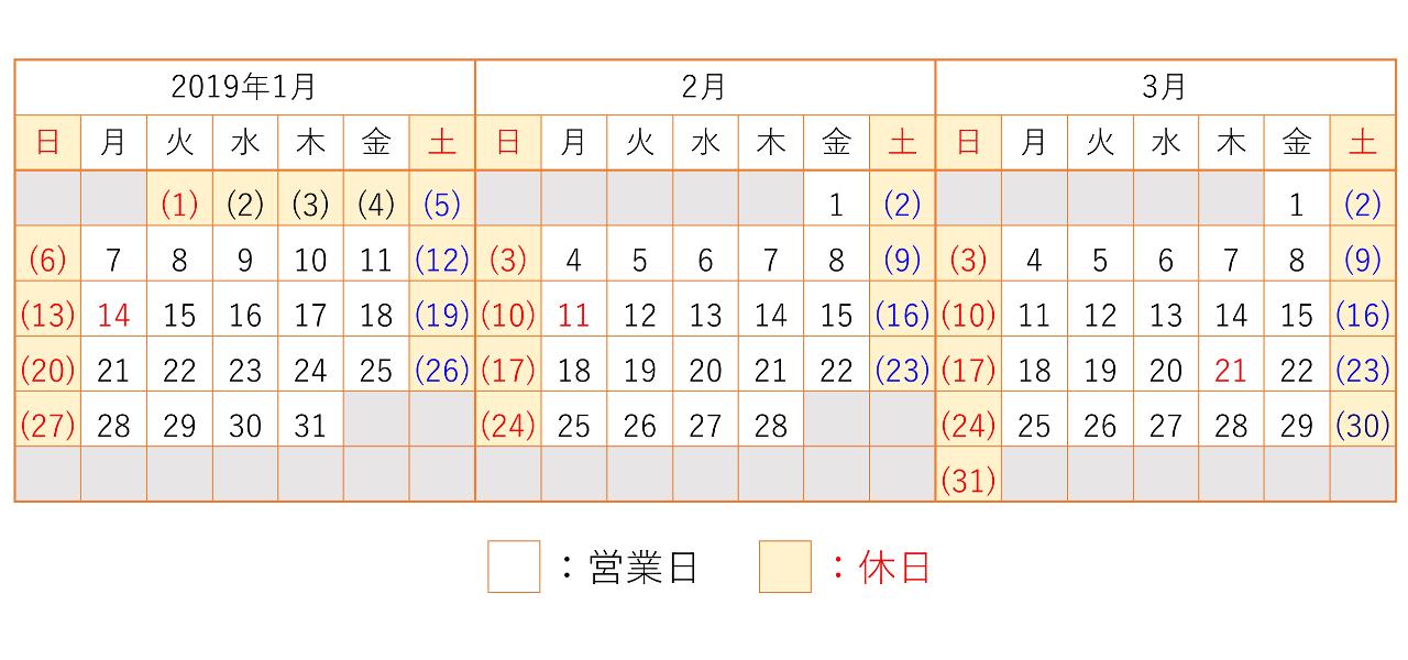 201901-201903カレンダー